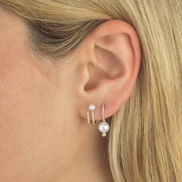 Diamond Pearl Hook Stud Earring 14K - Adina's Jewels