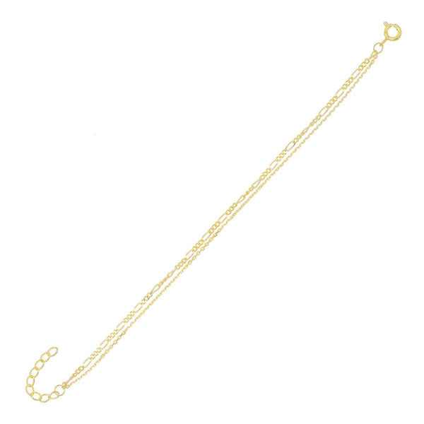 Gold Figaro X Chain Bracelet - Adina's Jewels