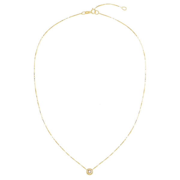 Diamond Solitaire Circle Necklace 14K - Adina's Jewels