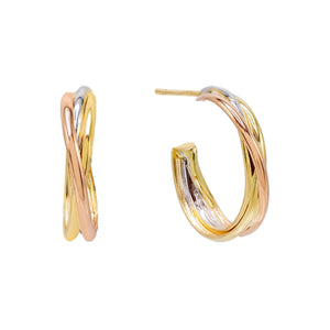 14K Gold Tricolor Hoop Stud Earring 14K - Adina's Jewels