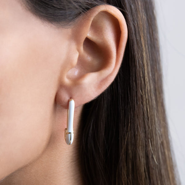 Safety Pin Enamel Earring - Adina's Jewels