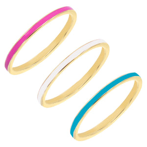 Combo / 5 Enamel Ring Set - Adina's Jewels