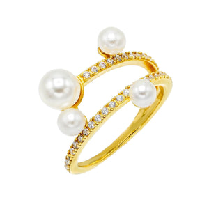 Pearl CZ Ring Pearl White / 7 - Adina's Jewels