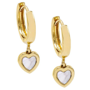 14K Gold Mother of Pearl Heart Huggie Earring 14K - Adina's Jewels