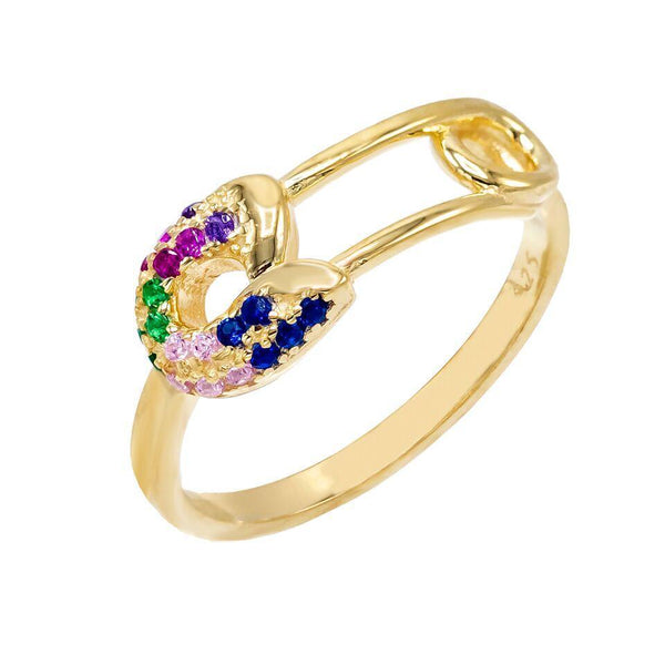 Multi-Color / 8 Multi-Color Safety Pin Ring - Adina's Jewels