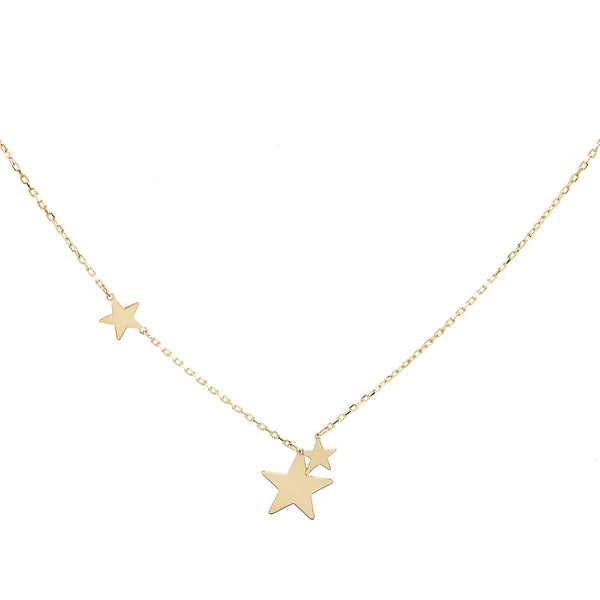 14K Gold Trio Star Necklace 14K - Adina's Jewels