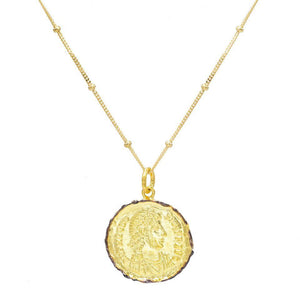 Gold Roman Vintage Coin Necklace - Adina's Jewels
