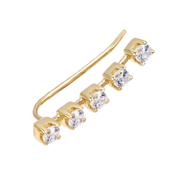 14K Gold / Single Tennis Stone Ear Climber 14K - Adina's Jewels