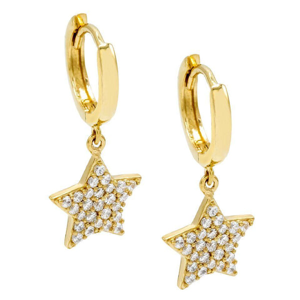 14K Gold Star Huggie Earring 14K - Adina's Jewels
