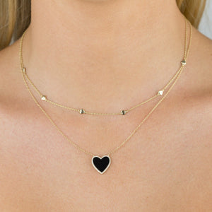 Diamond Onyx Heart Necklace 14K - Adina's Jewels