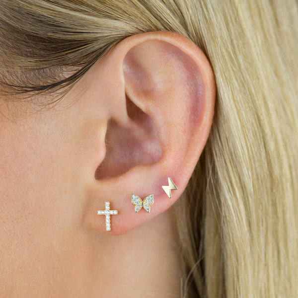 CZ Cross Stud Earring 14K - Adina's Jewels