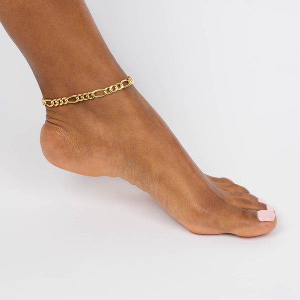 XL Figaro Chain Anklet - Adina's Jewels
