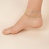 Pavé Two Tone Chain Link Anklet - Adina's Jewels