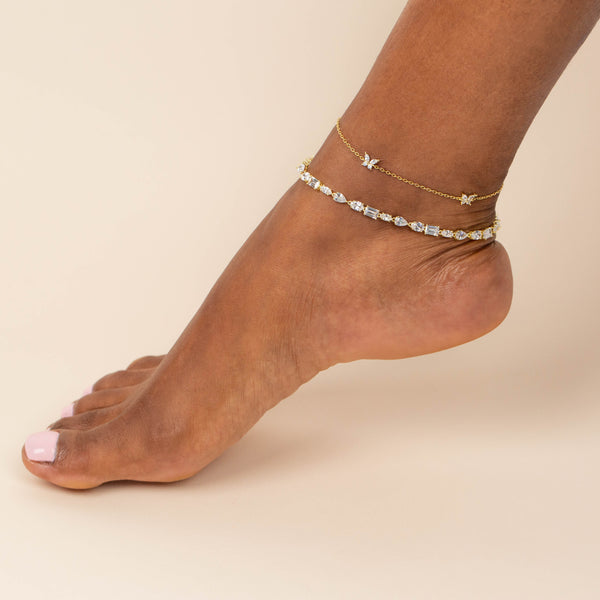 CZ Multi Shape Stone Anklet - Adina's Jewels