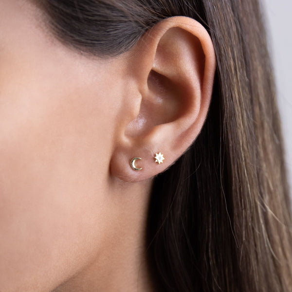 Mini Horn/Crescent Stud Earring - Adina's Jewels