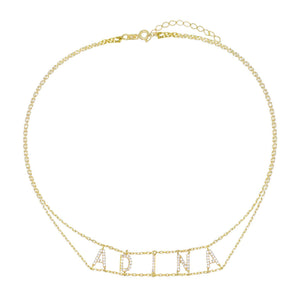 Double Chain Name Choker  - Adina's Jewels