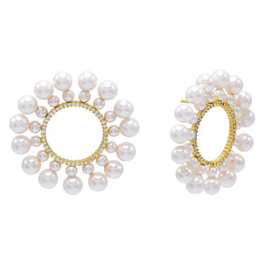 Pearl White Pearl Circle Stud Earring - Adina's Jewels