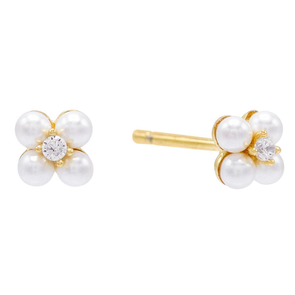 Pearl White Pearl Flower Stud Earring - Adina's Jewels