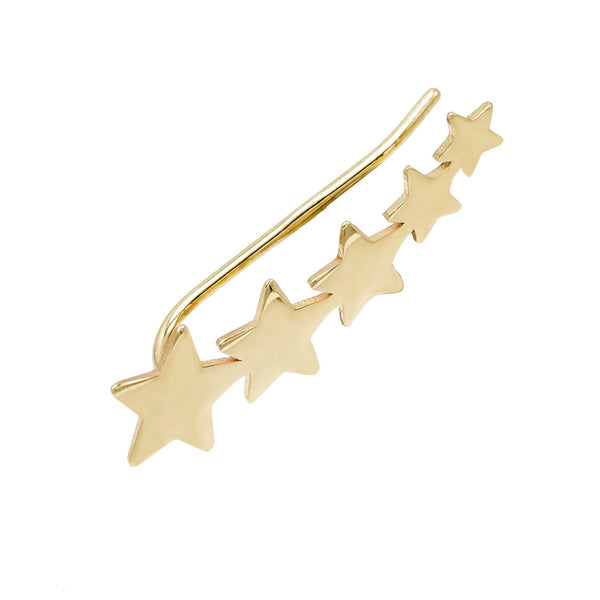 14K Gold Stars Ear Climber 14K - Adina's Jewels