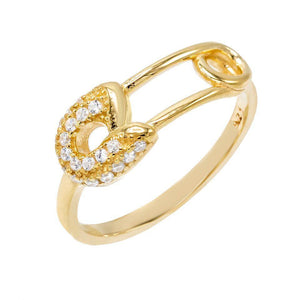 Gold / 6 Safety Pin Ring - Adina's Jewels
