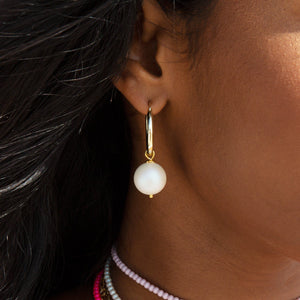 White Pearl Hoop Earring  - Adina's Jewels