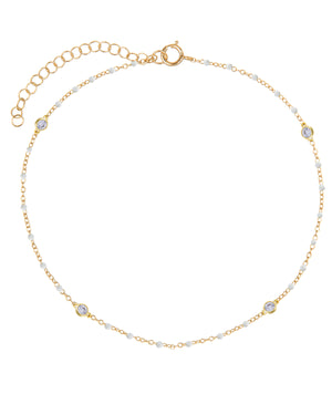 Bezel X Enamel Beaded Anklet White - Adina's Jewels