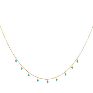 Turquoise Beaded Necklace Turquoise - Adina's Jewels