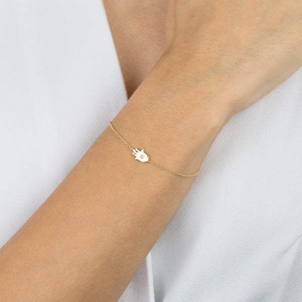 Diamond Hamsa Bracelet 14K - Adina's Jewels