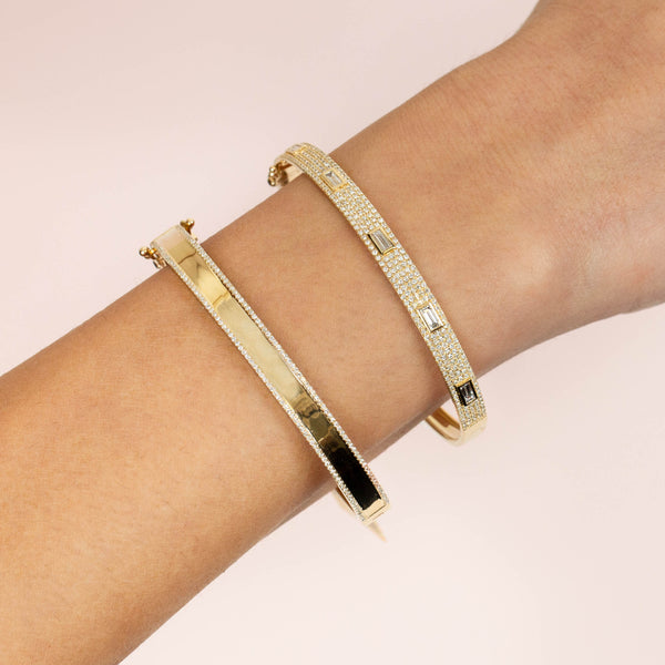 Diamond Pavé X Solid Bangle 14K - Adina's Jewels