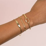 Engravable Open Star Bar Link Bracelet 14K - Adina's Jewels
