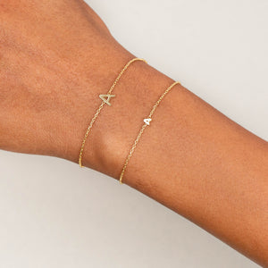 Tiny Solid Uppercase Initial Bracelet - Adina's Jewels