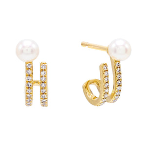 Diamond Pearl Hook Stud Earring 14K 14K Gold - Adina's Jewels