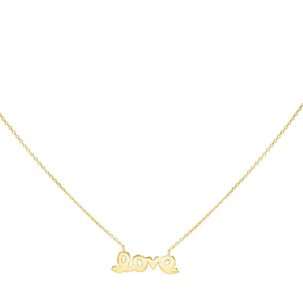 14K Gold Love Script Necklace 14K - Adina's Jewels