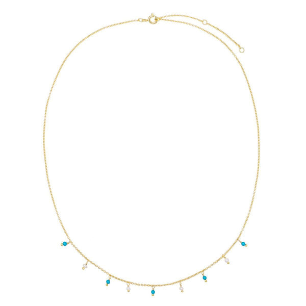Pearl & Turquoise Bead Necklace - Adina's Jewels