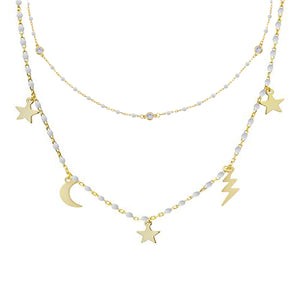 CZ Enamel Celestial Necklace Combo Set White - Adina's Jewels
