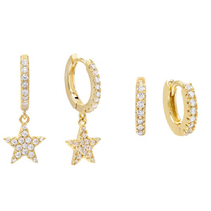 CZ Star Huggie Earring Combo Set Gold - Adina's Jewels