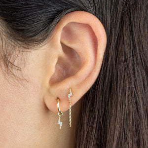 CZ Lightning Bolt Earring Combo Set 14K - Adina's Jewels