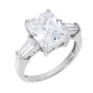 CZ Rectangle Ring Silver / 8 - Adina's Jewels