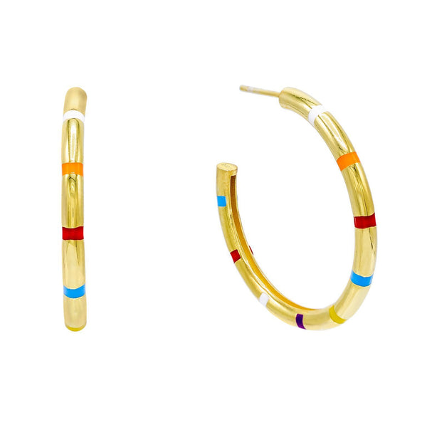 Multi-Color Striped Enamel Hoop Earring - Adina's Jewels