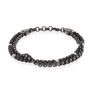 Double Beaded Chain Bracelet Onyx - Adina's Jewels
