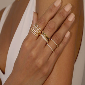 CZ Pearl X Rope Ring