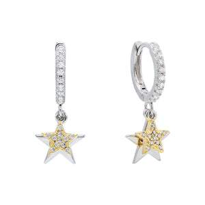 Two-Tone Pavé Star Huggie Earring Silver - Adina's Jewels