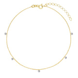 Floating CZ Anklet Gold - Adina's Jewels