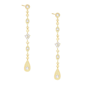 CZ Multi-Shape Drop Stud Earring Gold - Adina's Jewels