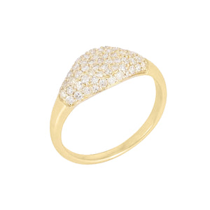 14K Gold / 3 Diamond Signet Ring 14K - Adina's Jewels