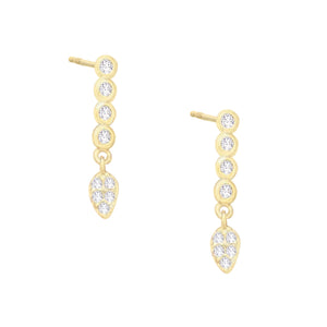 Pavé Teardrop Stud Earring Gold - Adina's Jewels
