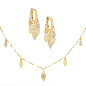 Pavé X Solid Teardrop Combo Set Gold - Adina's Jewels