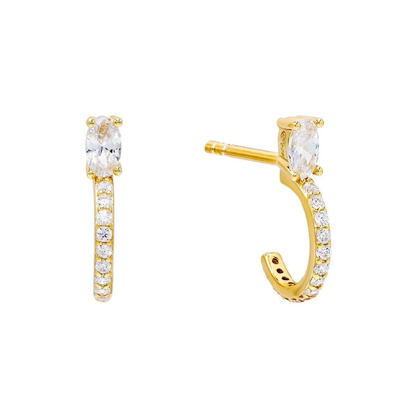 Gold / Oval Stone Hoop Stud Earring - Adina's Jewels