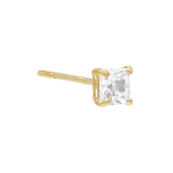 14K Gold / 3 MM / Single Princess Cut Stud Earring 14K - Adina's Jewels