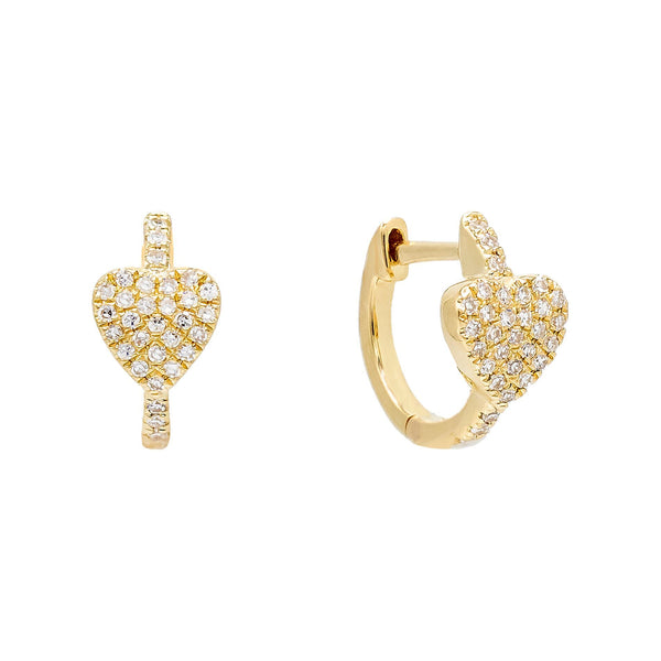 Diamond Heart Huggie Earring 14K